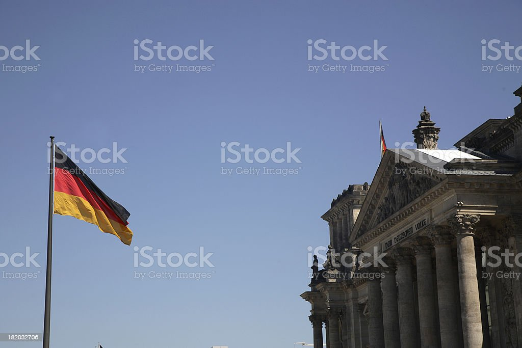 Berlin: Reichstag and Flag stock photo