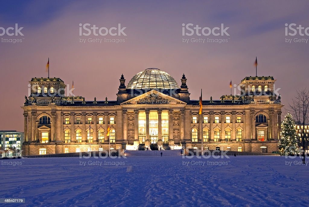 berlin reichstag christmas snow stock photo