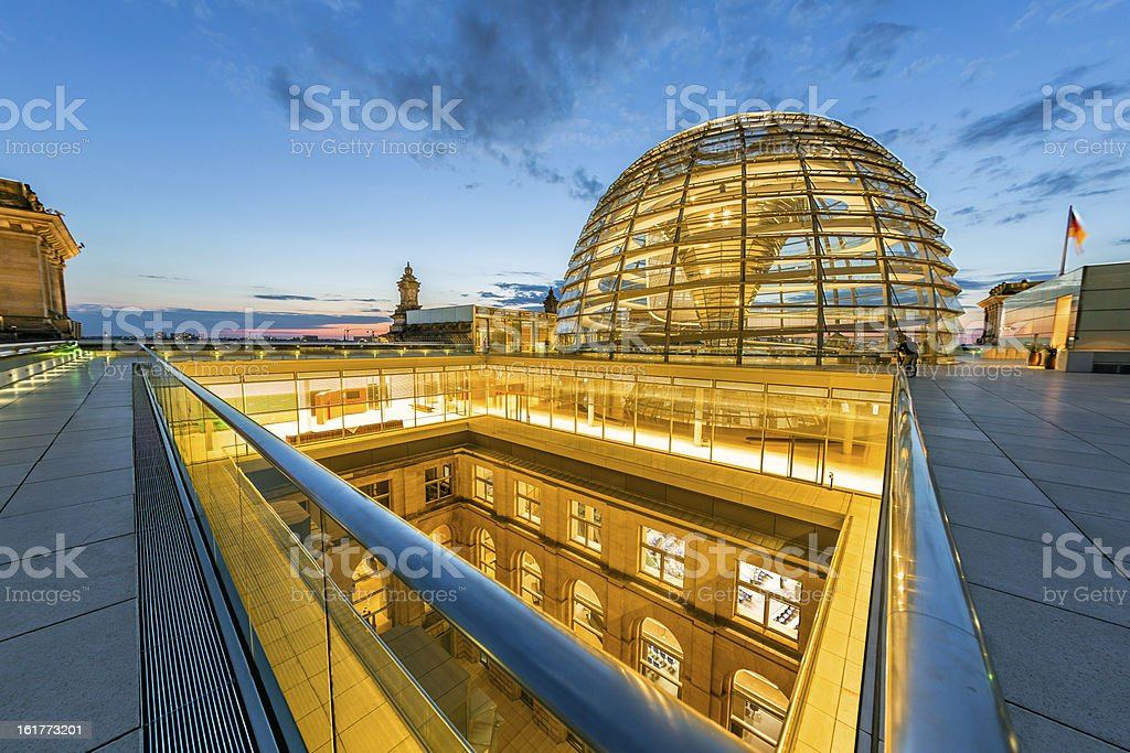 Berlin, Reichstag Dome Illuminated Reichstag Dome at Twilight. Ultra-Wide Angle Architecture Shot. Architectural Dome Stock Photo