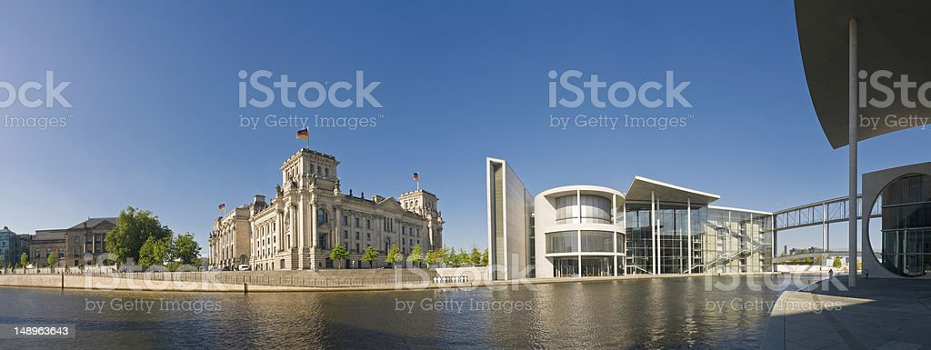 Berlin Reichstag Regierungsviertel Spree stock photo