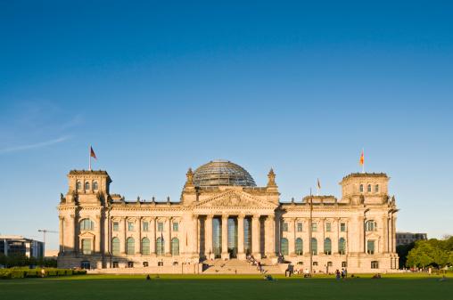 Berlin Reichstag summer evening blue sky