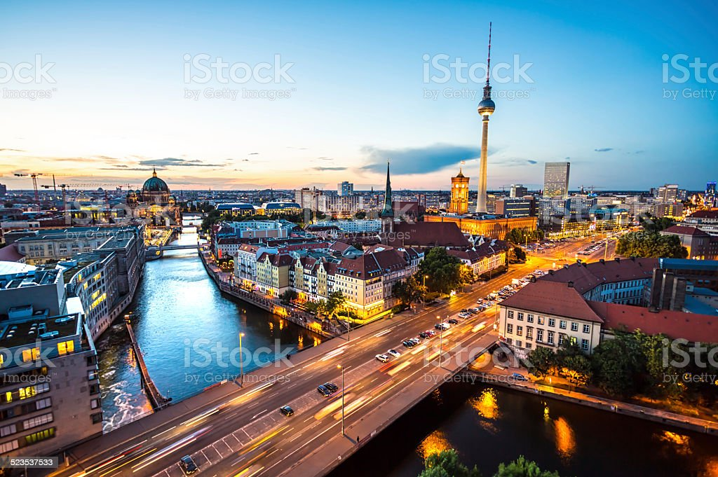 Berlin Skyline at Dusk stock photo