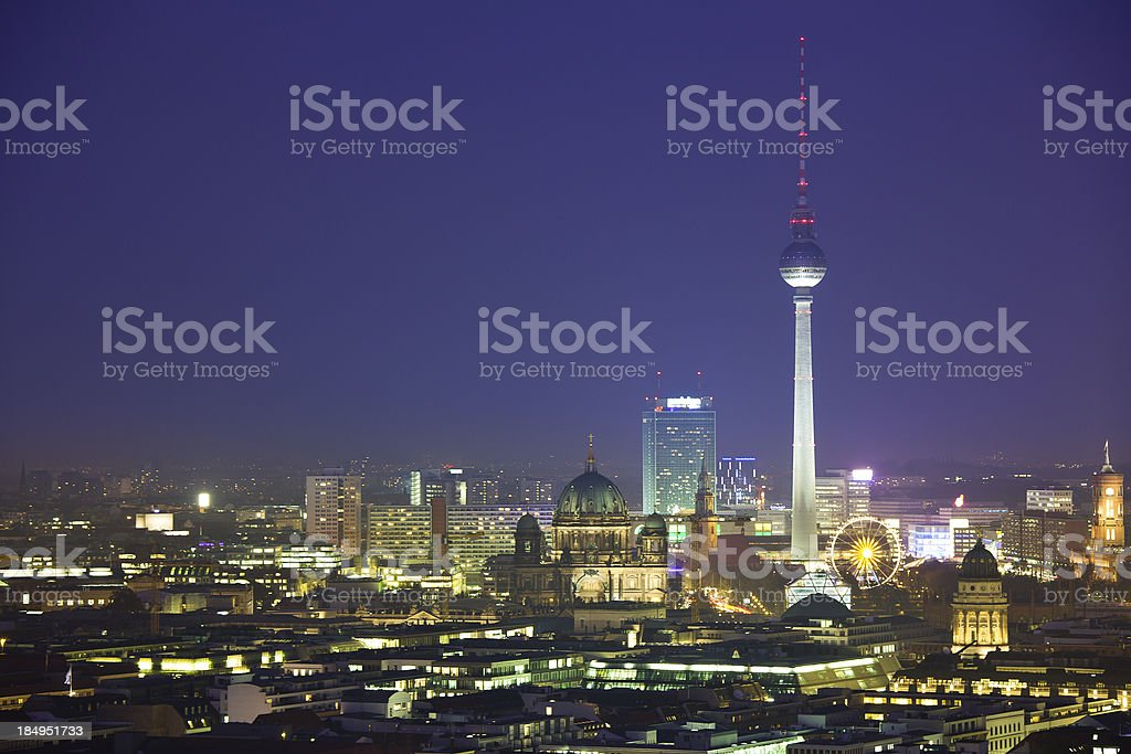 Berlin Skyline at Night, Dom and Tv Tower royalty-free stock photo