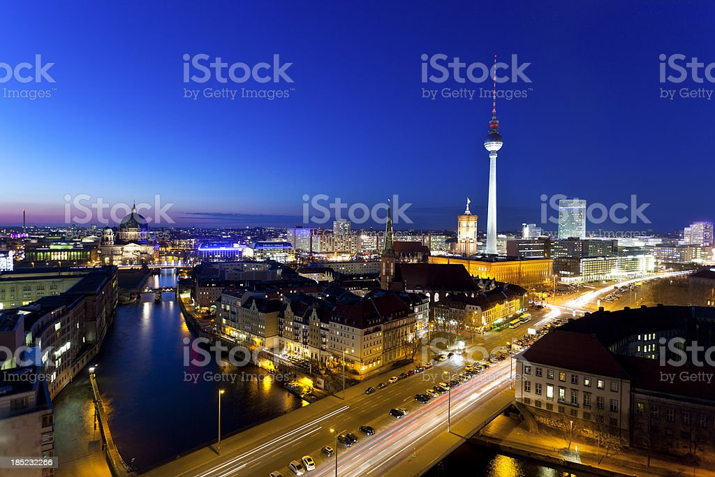 Berlin Skyline at Night royalty-free stock photo