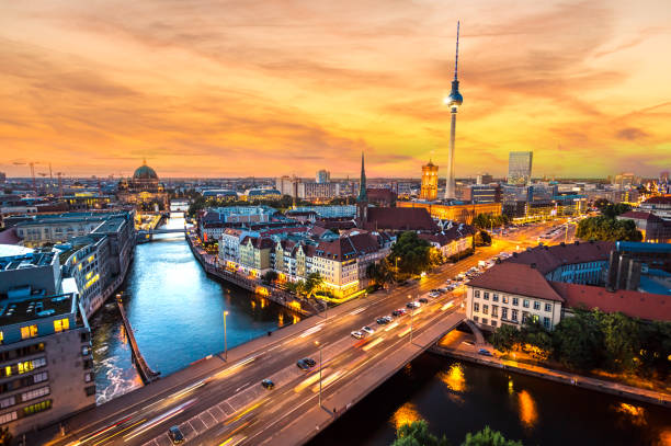 Berlin Skyline at sunset Berlin Skyline at sunset berlin stock pictures, royalty-free photos & images