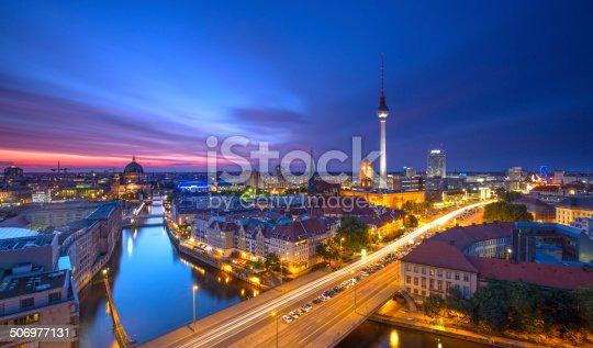 istock Berlin Skyline City Panorama with blue sky sunset and traffic 506977131