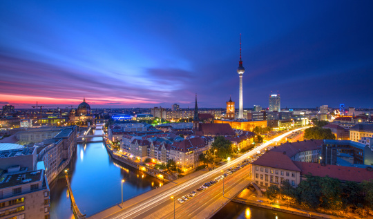 Berlin Skyline City Panorama with blue sky sunset and traffic