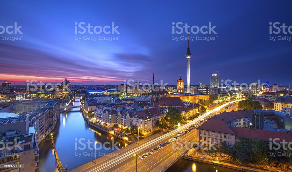 Berlin Skyline City Panorama with blue sky sunset and traffic stock photo