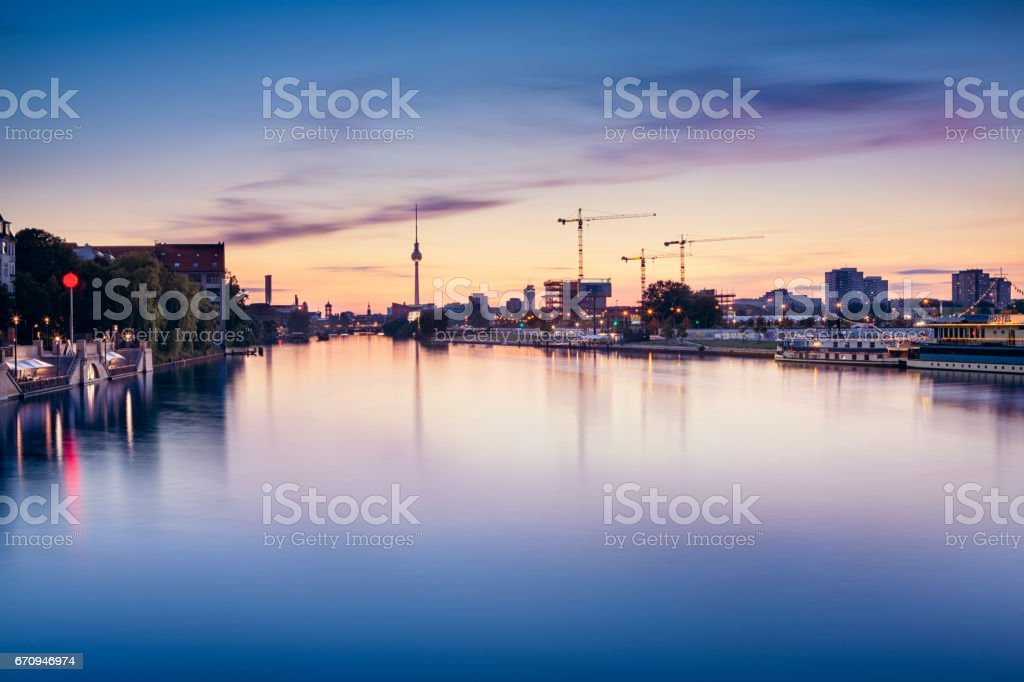Berlin Skyline Long Exposure stock photo