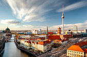 istock Berlin skyline panorama aerial view with TV tower, spree river and clouds at sunset, Berlin, Germany 1250549277