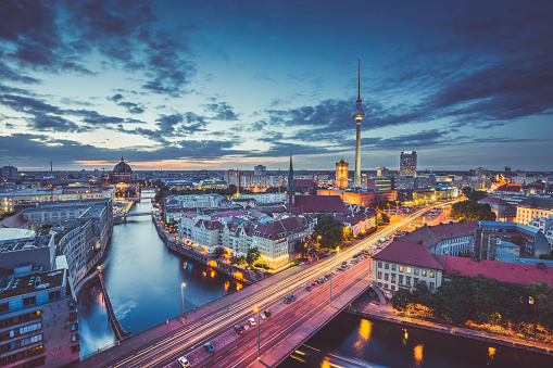 Berlin skyline panorama in twilight during blue hour, Germany