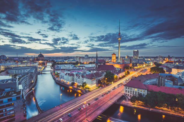 Berlin skyline panorama in twilight during blue hour, Germany stock photo