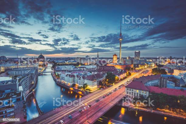 Photo of Berlin skyline panorama in twilight during blue hour, Germany