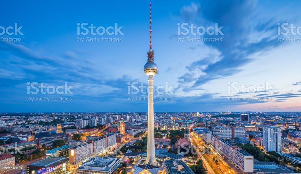 Berlin skyline panorama with famous TV tower at Alexanderplatz at night, Germany – Foto