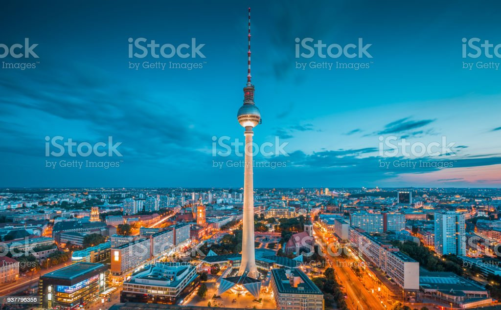 Berlin skyline panorama with famous TV tower at Alexanderplatz at night, Germany stock photo