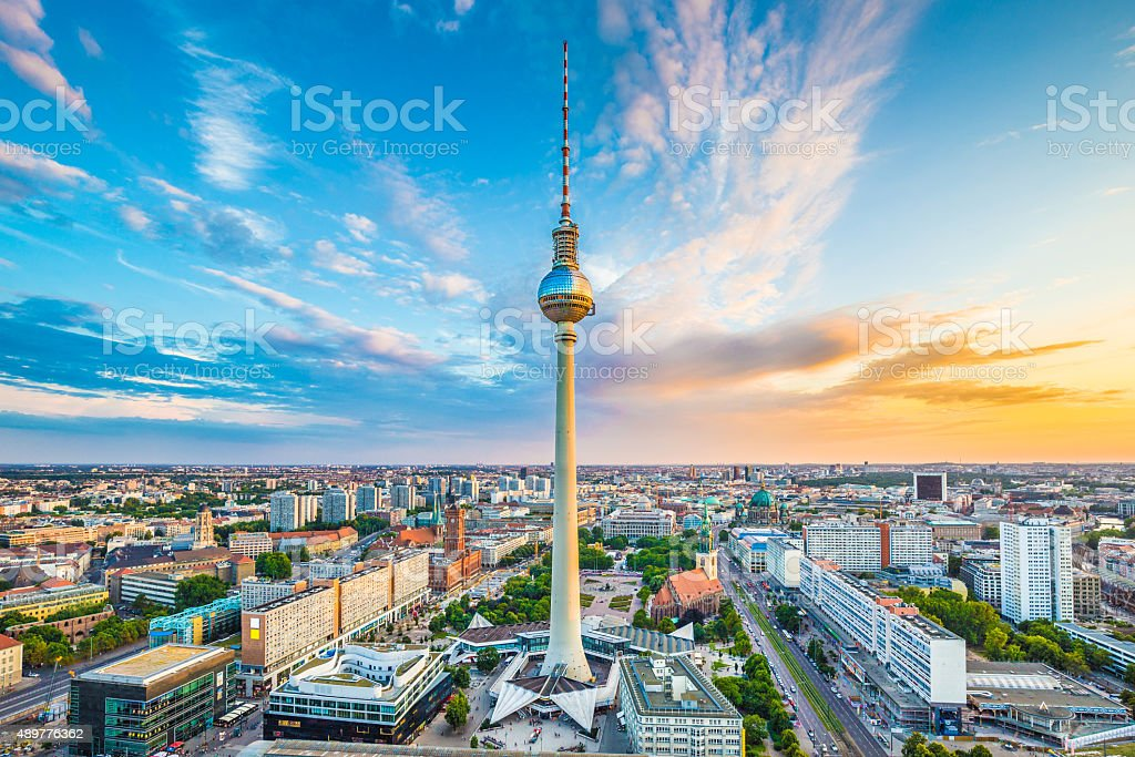 Berlin skyline panorama with TV tower at sunset, Germany stock photo