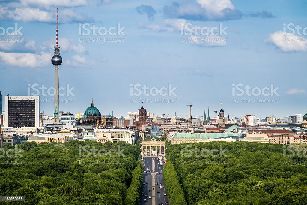 Berlin Skyline, Straße des 17. Juni (17th of June Street) stock photo