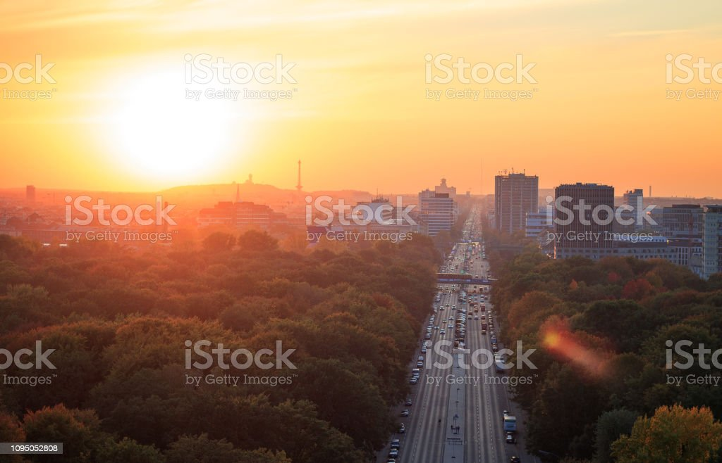 Berlin Skyline view from Victory column during autumn sunset stock photo