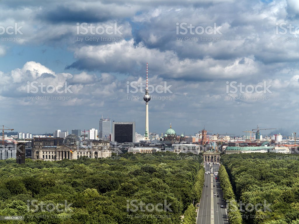 Berlin Skyline with Brandenburg Gate stock photo