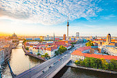 istock Berlin skyline with Spree river at sunset, Germany 1048549008