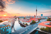 istock Berlin skyline with Spree river at sunset, Germany 1057330194