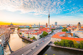istock Berlin skyline with Spree river at sunset, Germany 1063264964