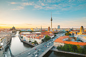 istock Berlin skyline with Spree river at sunset, Germany 1136859888
