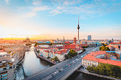 istock Berlin skyline with Spree river at sunset, Germany 1250975435