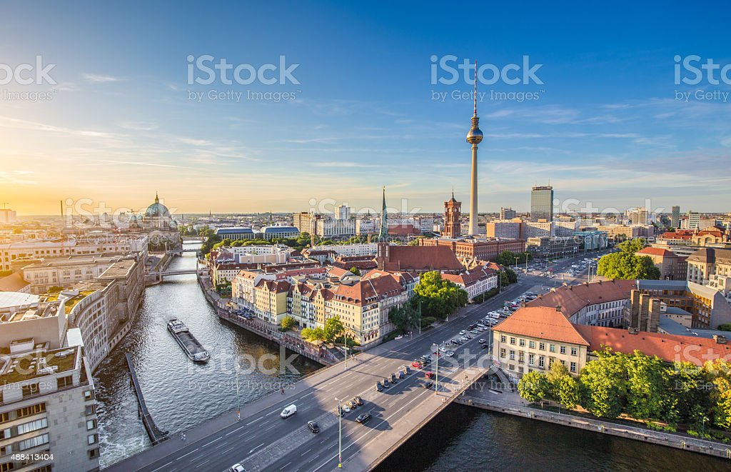 Berlin skyline with Spree river at sunset, Germany - Royalty-free 2015 Stock Photo