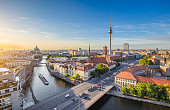 istock Berlin skyline with Spree river at sunset, Germany 488413404
