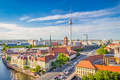 istock Berlin skyline with Spree river at sunset, Germany 518594436