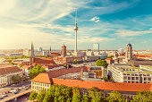 istock Berlin skyline with Spree river at sunset, Germany 901330398