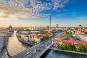 istock Berlin skyline with Spree river at sunset, Germany 902980652
