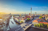 istock Berlin skyline with Spree river at sunset, Germany 958097258