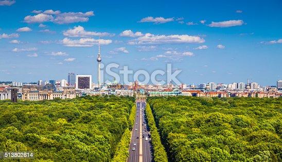 istock Berlin skyline with Tiergarten park in summer, Germany 513802614