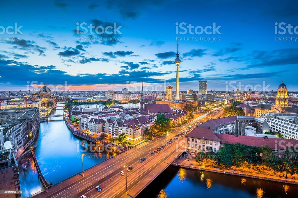 Berlin skyline with TV tower at night, Germany stock photo