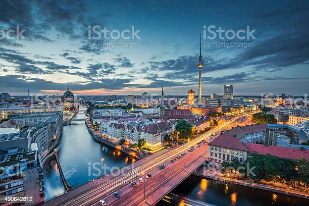 Photo of Berlin skyline with TV tower at night, Germany