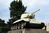 Russian T34 tank at the Sovjet War memorial on Strasse des 17 Juni that was inaugurate in November 1945 as a rememberance of the aprox. 20.000 Russian soldiers who died in the finan battle of Berlin 2.500 of whom is burried behind the monument.