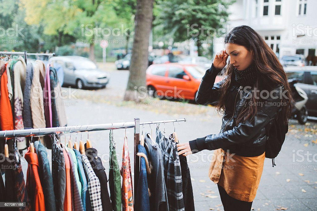 Berlin street style shopping stock photo