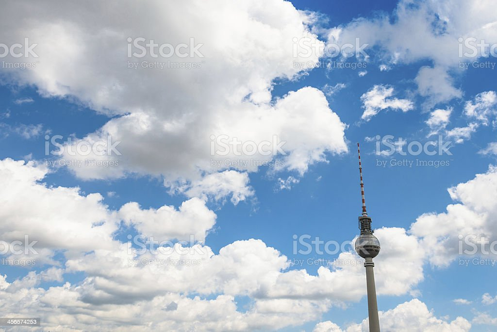 Berlin television tower on the clouds - Germany royalty-free stock photo