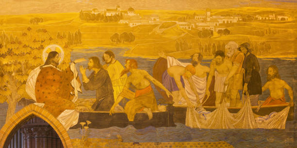 Berlin - The fresco of Miracle Fishing in St. Pauls evengelical church by workroom Gathemann & Kellner from begin of 20. cent. in