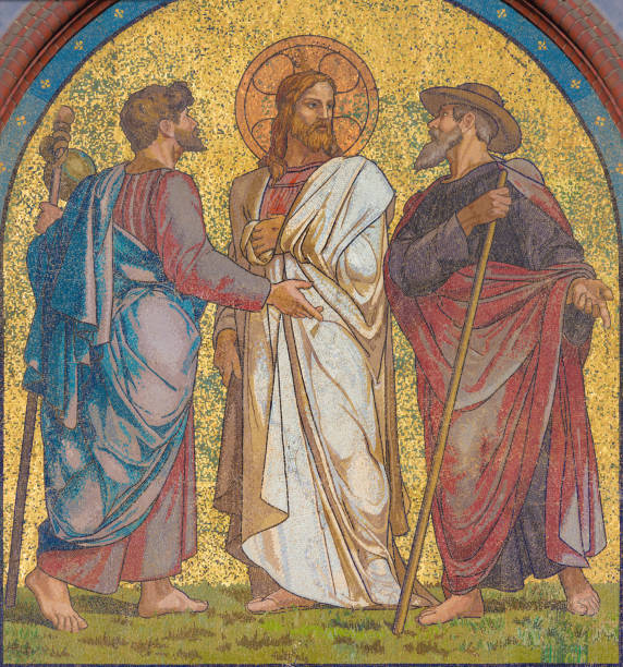 Berlin - The mosaic of Jesus with the disciples on the road to Emmaus on the facade of church Emmauskirche by workroom Deutschen Glasmosaik - Gesellschaft Puhl & Wagner. stock photo