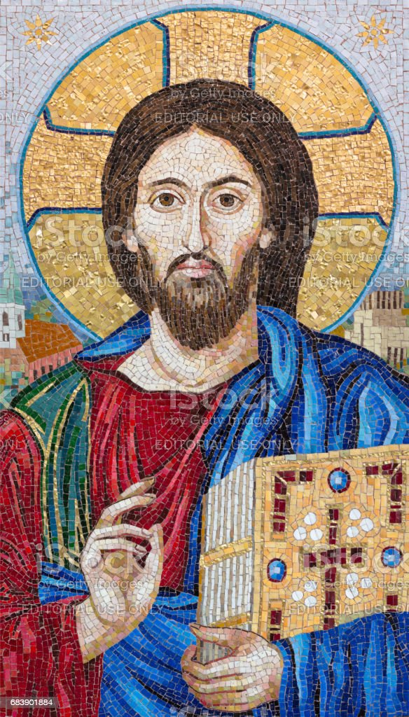 Berlin - The mosaik of the Blessed Jesus in church Marienkirche by workroom Cosmomusivo (2014) after old icon from Katherine cloistero on the Mt. Sinai. stock photo