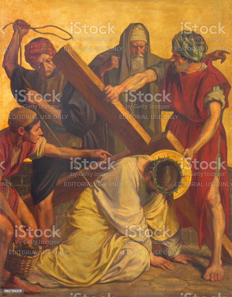 Berlin - The paint on the metal plate - Jesus fall under cross in church St. Matthew  by Philipp Schumacher (1907 - 1915). stock photo