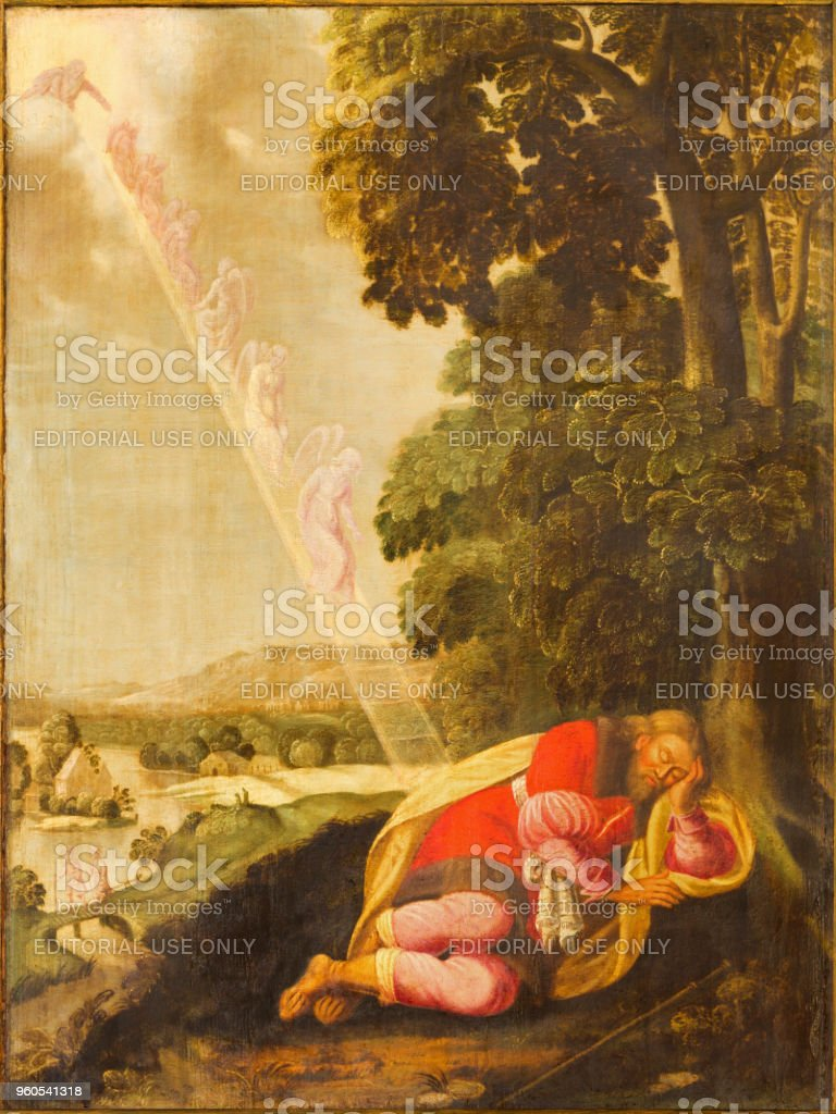 Berlin - The painting of The Jacob's Ladder in church Marienkirche stock photo