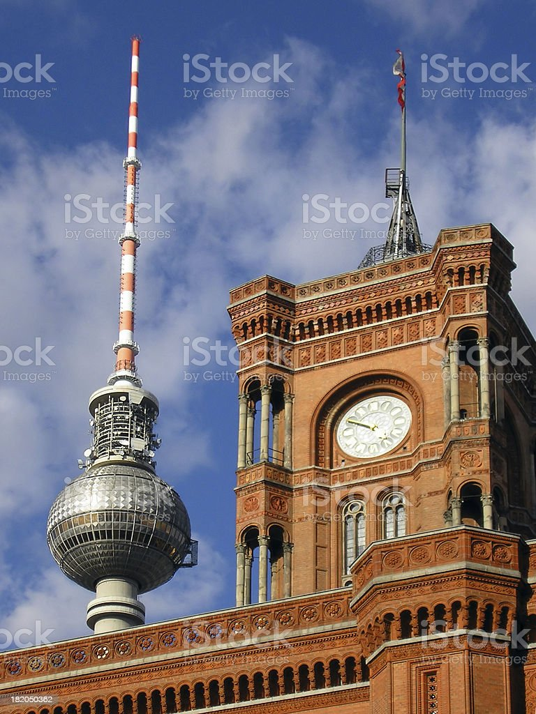 Berlin Towers - Twon Hall and TV royalty-free stock photo