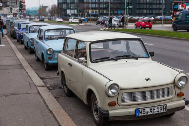 Berlin - Trabants parked in Berlin street stock photo