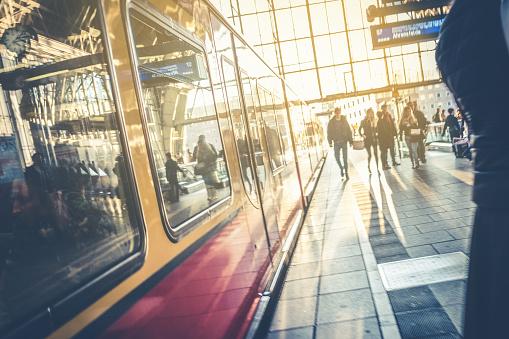 Berlin train station - people and S-Bahn train