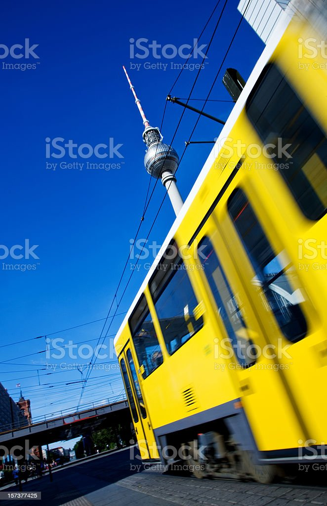 Berlin tram and TV Tower royalty-free stock photo