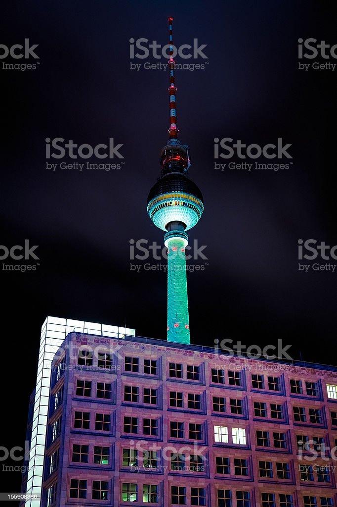 Berlin TV Tower AlexanderPlatz by Night Nobody royalty-free stock photo